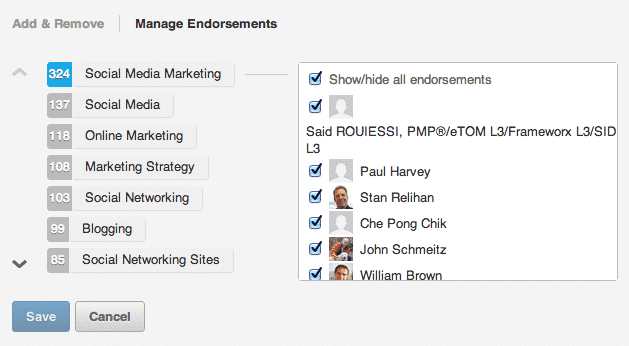manage linkedin endorsements