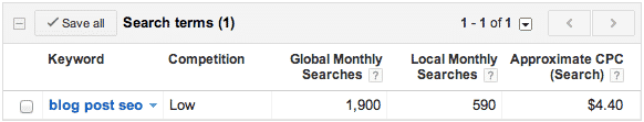 Blog Post SEO - Keyword Research