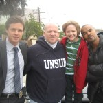 Maxim with Eric Close, Director Edward Bernaro, and Shemar Moore at Criminal Minds shoot