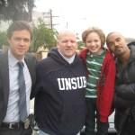 Maxim with Eric Close, Director Edward Bernaro, and Shemar Moore at Criminal Minds shoot