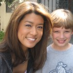 "Max with Miss Grace Park on the set of ""The Cleaner"""