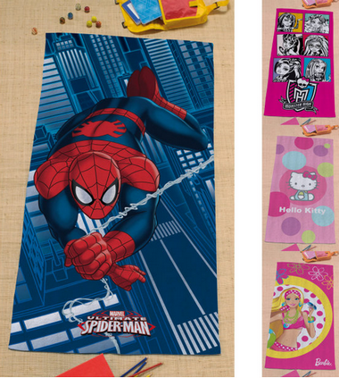 aldi draps de bain spiderman monster high hello kitty. Black Bedroom Furniture Sets. Home Design Ideas