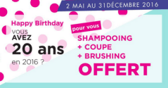 Tchip Coiffure 20 ans Anniversaire Shampooing – Coupe – Brushing offerts