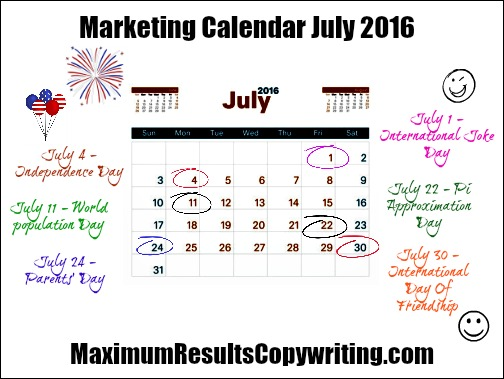 Marketing Calendar July 2016