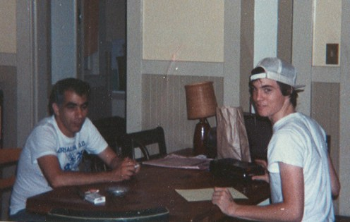 Martin interviewing Tim for Leading Edge zine at the MRR house in Oakland