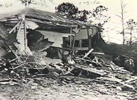 Hugh Bentley was not there when his house was bombed, but his wife and children were sleeping inside.