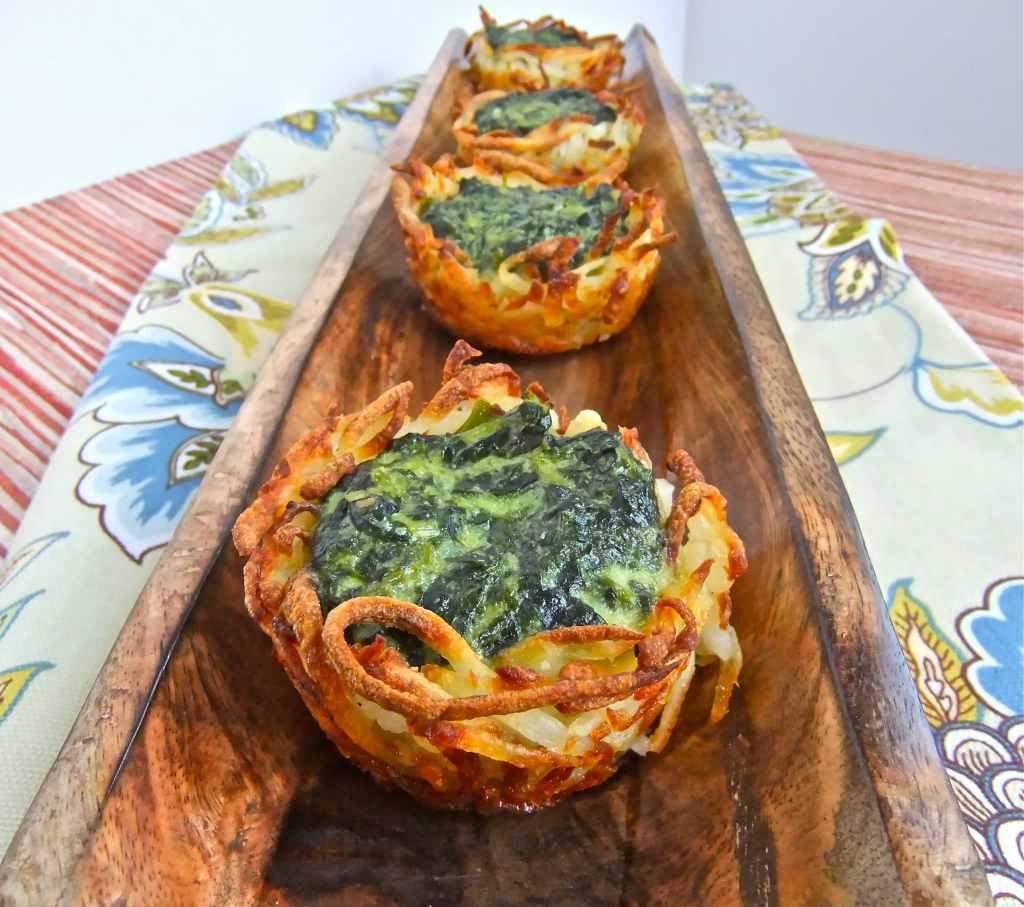 Spinach potato nest bites #vegetarian #passover #Spinach #appetizer #Jewish Holidays #Kosher
