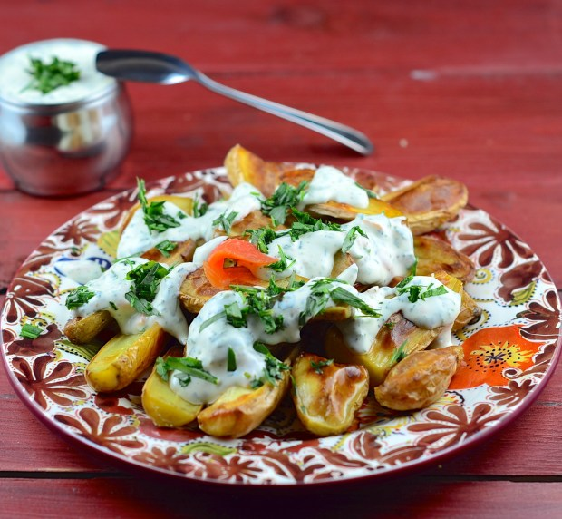 fingerling potatoes with creamy tarragon sauce