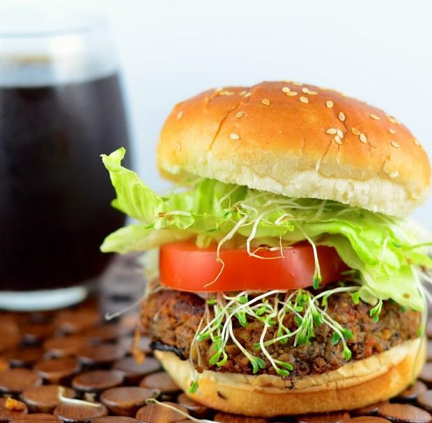 Vegan Tempeh and black bean burger