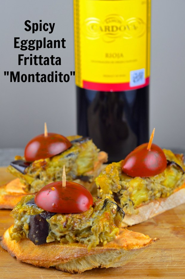 "Spicy Eggplant Frittata ""Montadito"" - Vegetarian and kosher.  Tapas from Spain may sound intimidating, but there are not.  Try this tapa with smoky, spicy eggplant frittata on top of a crunchy baguette slice.  The perfect bite size food.  Perfect for a friend get together, pot luck dinner or Super Bowl party."