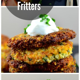 Perfect vegetarian cauliflower appetizer or entree, quick and easy to make and oh so delicious ! #Vegetarian #cauliflower fritters #hanukkah #gluten free #cheese #appetizer #kosher