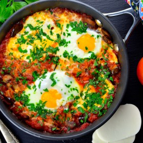 Fresh Mozzarella, Mushroom and Eggplant Shakshuka #passover #vegetarian #eggs #breakfast #shakshuka #shakshouka #dinner #israel #kosher #recipes #tomatoes #eggplant #mushrooms