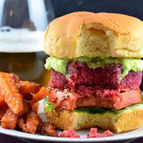 beet chickpea and quinoa veggie burger made with @mailleUS #vegan #veggieBurger #burger #Beet #chickpea #Quinoa #GlutenFree #kosher #mustard #maille