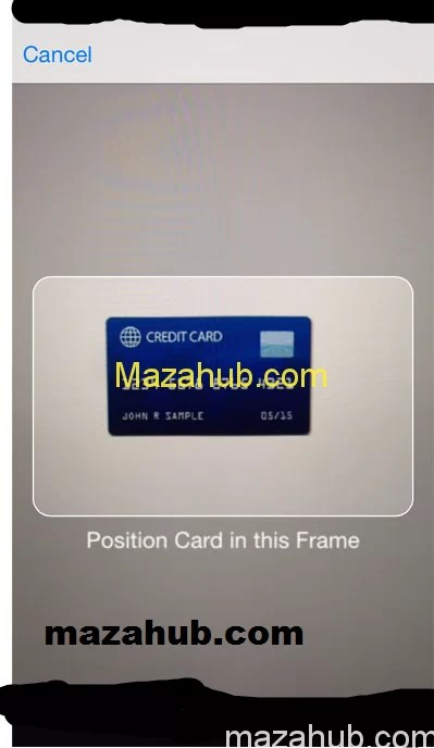 Credit card place infront of camera