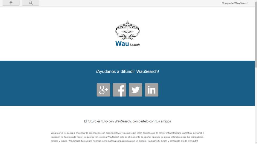 Compartir WauSearch a través de redes sociales y correo electrónico