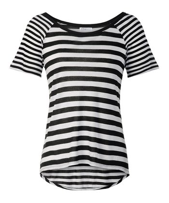 Black and White Stripe Hi-Low Tee
