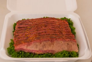 Brisket showig the effect of the cherry wood smoke