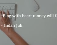 Blog with heart money will follow