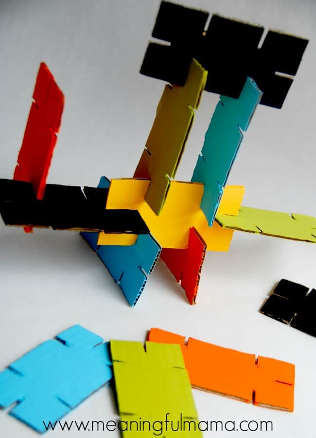Upcycle cardboard of any size into colorful stackers for kids (via meaningfulmama.com)