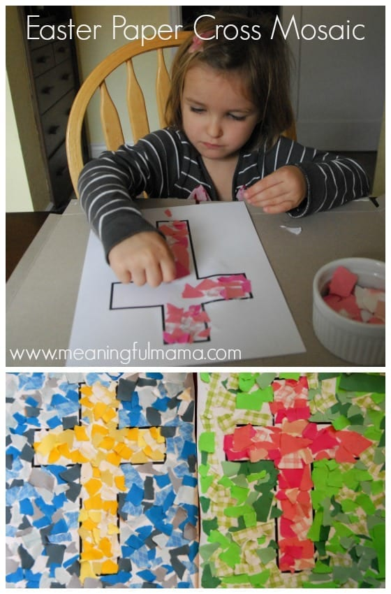 Easter Craft Idea for Kids - Paper Cross Mosaic