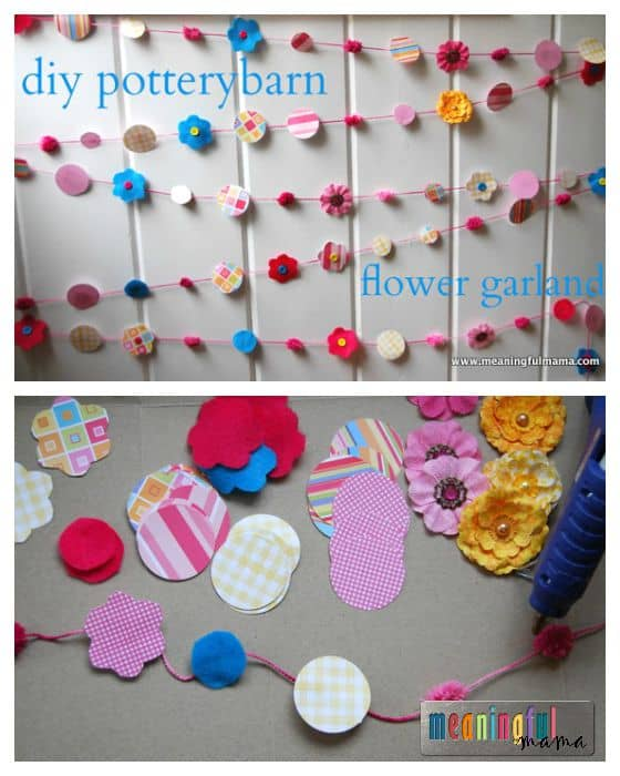 DIY Flower Garland - Spring Birthday Party Decorations