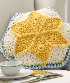 Alaska Snow Flowers Pillow Crochet Pattern | Red Heart