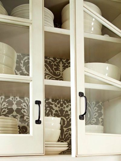 Best Wallpaper Ideas: wallpaper in back of cabinets