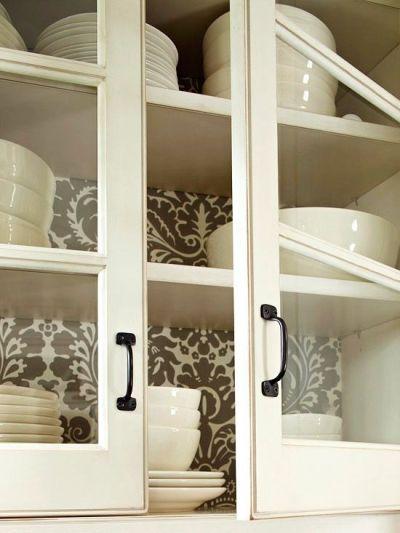 Best Wallpaper Ideas: wallpaper in back of cabinets