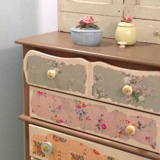 Vintage wallpaper on dresser drawers | Things that I just Love | Pint…