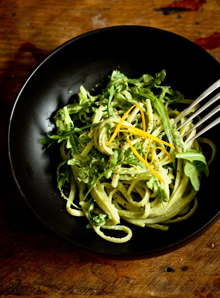Creamy Avocado Linguine with Meyer Lemon and Arugula - Vegan