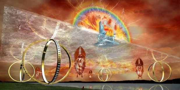 "Ezekiel""s vision --wheel within wheel eyes looking every direction.. so interesting. ew13113"