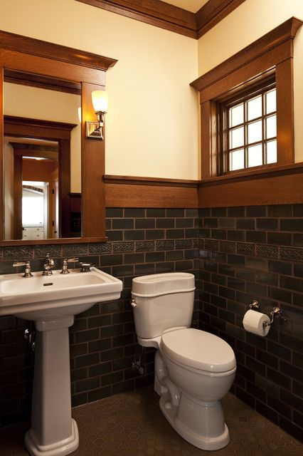 Magnificent Craftsman Style Interiors to Improve Room Coziness: Contemporary Craftsman Style Interiors Powder Room With Glass Tile Backsplash And White Porcelain Sink And Toilet Woodframe Window