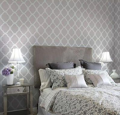 Trellis-wallpaper behind bed | ♦ DIY home ♦ | Pinterest