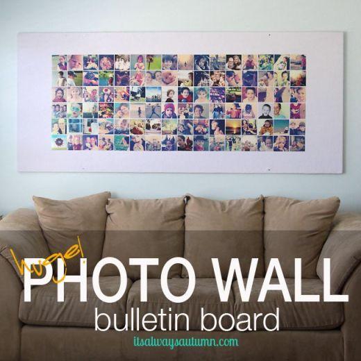 huge DIY photo wall bulletin board {instagram wall}