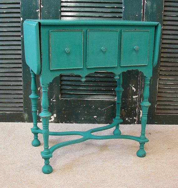 Vintage Reclaimed Turquoise Milk Chalk Paint 3 Dr Drop Leaf Victorian Accent End Side Table (9198684475-01) SHIPS Fed Ex