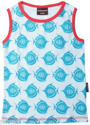 Girls MAXOMORRA VEST Blue FISH top NEW underwear organic cotton tank