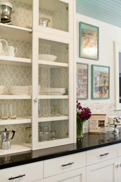 Wallpaper inside cabinets
