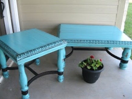 distressed turquoise furniture