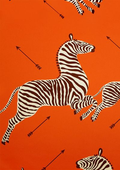 Scalamandre Zebra wallpaper in orange | Crazy About Orange | Pinterest