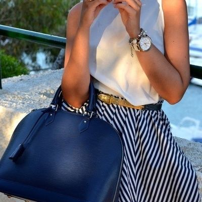 how to wear stripes - white top / blouse nautical skirt striped louis vuitton epi leather blue bag