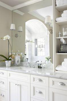 Master Bath ~ upper storage / open shelves