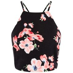 Black Floral Print High Neck Crop Top ($20) ❤ liked on Polyvore