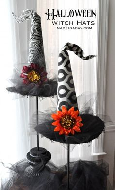Decorative Halloween Witch Hats | Made In A day - Featured at the #HomeMattersParty 57