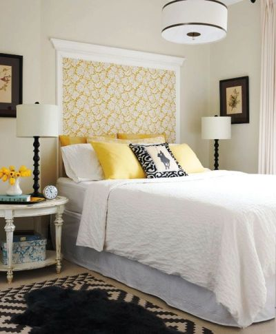 Crown molding and wallpaper as headboard | For the Home ...