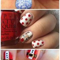 Polka Dot and Reindeer Christmas Nails