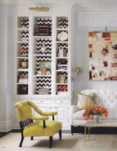 Chevron wallpaper behind a bookshelf | HOME | Pinterest