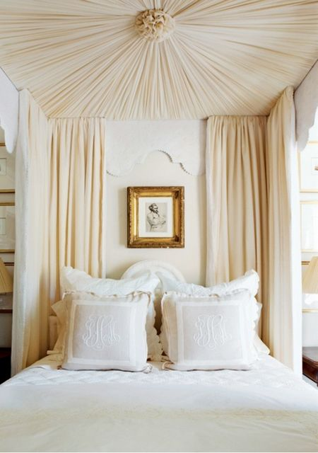 Myers Briggs Personality Types and Home Decor Neutral Bedroom with Bed Canopy Monogram Pillows Portrait Traditional Bedroom Area Myer Briggs Home Decor