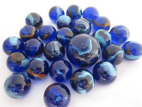 25 Glass Marbles DRAGONFLY Cobalt Blue/Red Transparent fish tank decor