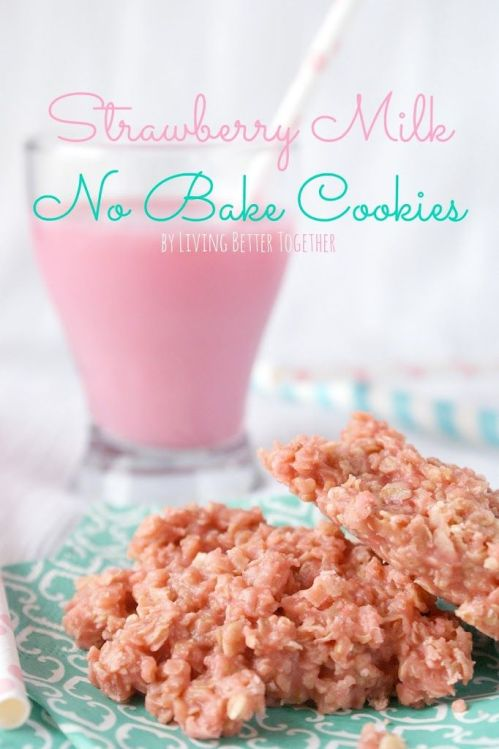 strawberry milk no bake cookies