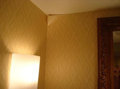 Wallpaper coming off wall in bathroom. Notice mold on ceiling to left of where wallpaper is pee ...